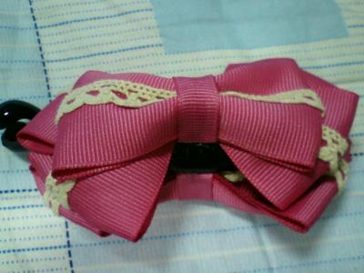 香蕉夾-桃紅色布蕾絲香蕉夾